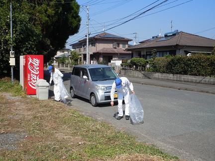 近隣住宅地道路ゴミ拾い