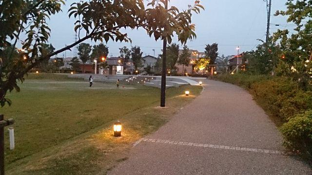 実施後の夜の様子 ライトが足元を照らし夜も歩きやすそうです