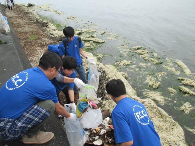 湖岸にも生活ゴミが流れ着いています