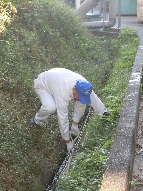 近隣の浦川内貯水池の環境保全のため、構内の側溝清掃も行いました